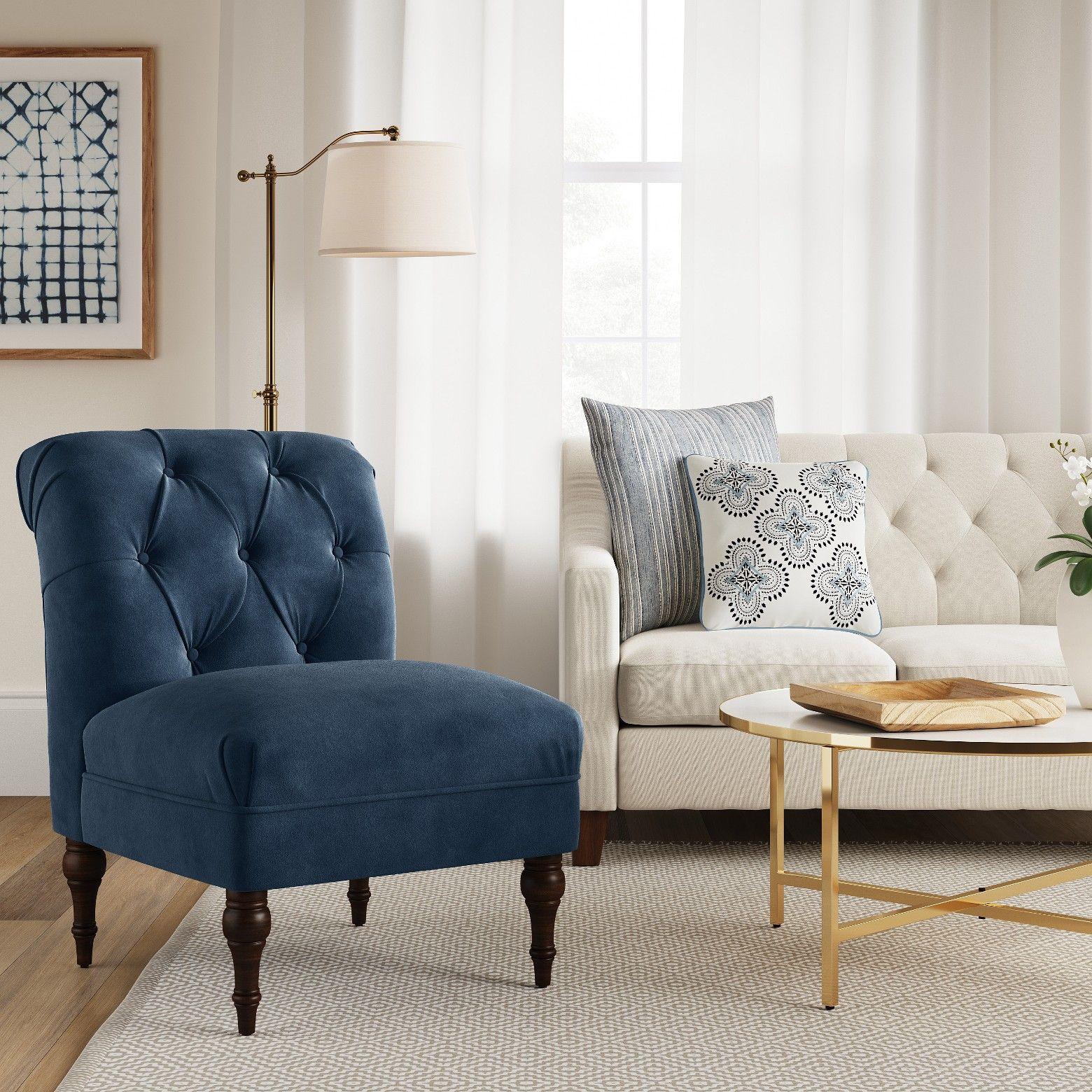 Wales Rollback Tufted Turned Leg Slipper Chair Navy Velvet Fully Assembled Threshold Target Bean Bag Chair Living Room Furniture Furniture Slipper chair living room