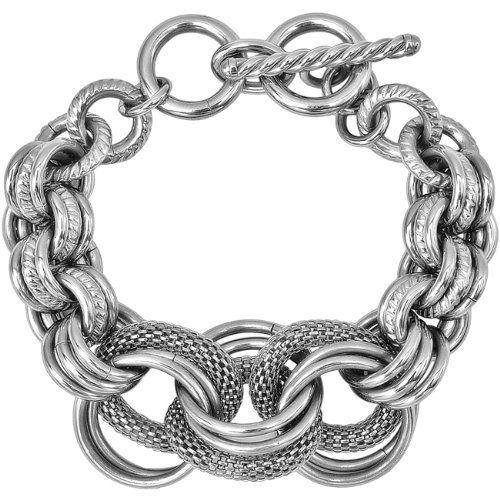 Inox Jewelry Women S 316l Stainless Steel Chunky Mesh Link Bracelet 68 25