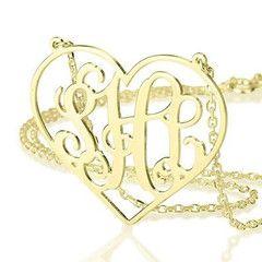 ** SPECIAL ** Jordann Jewelry Heart Monogram Necklace - 1.25 Inch ** ILJA FAVORITE **