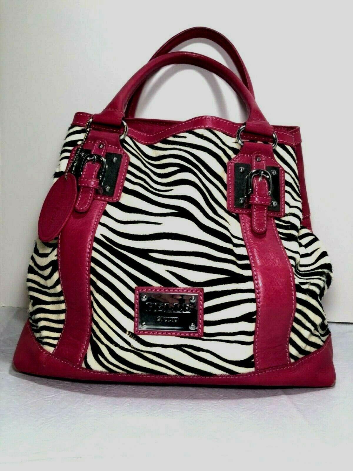 Wilson's Leather Pelle Studio Pink Leather Zebra Print