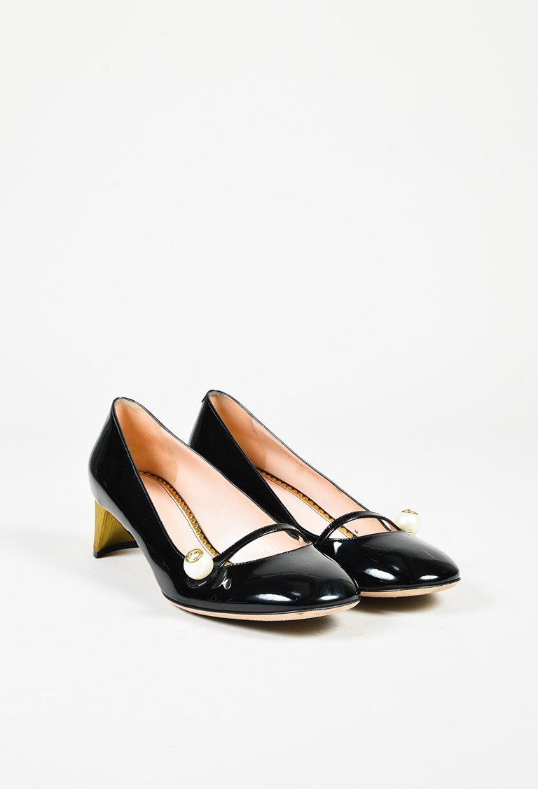 65809e6079a Gucci Black Patent Leather Faux Pearl Embellished Mary Jane Pumps ...
