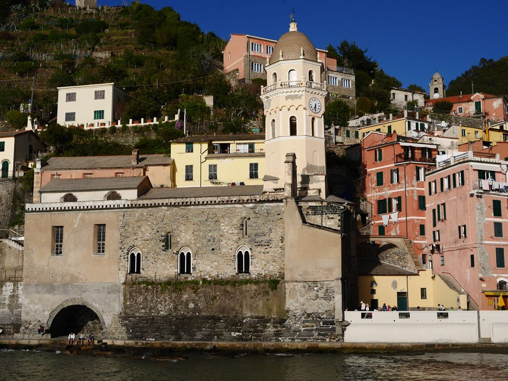 Cinque Terre Vernazza - one of the five villages which makes up the Cinque Terre - this one with a stunning seaside church