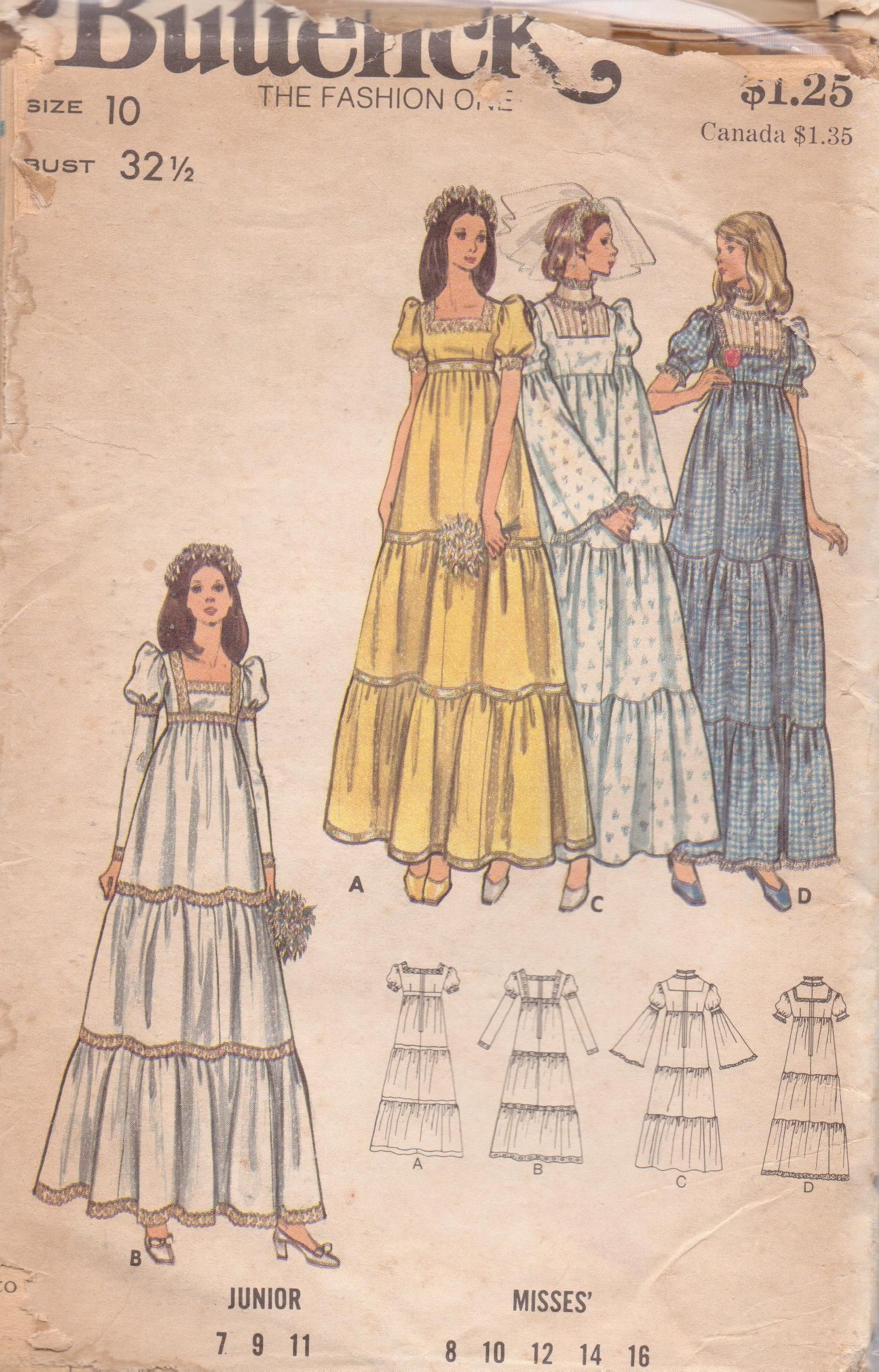 Butterick size empire tiered gown s granny style square