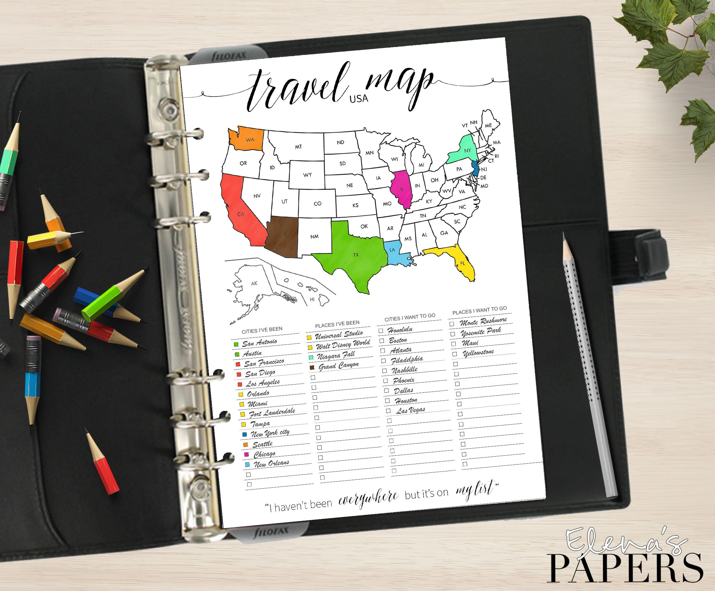 Printable TRAVEL USA MAP insert for your Pocket, Personal ...