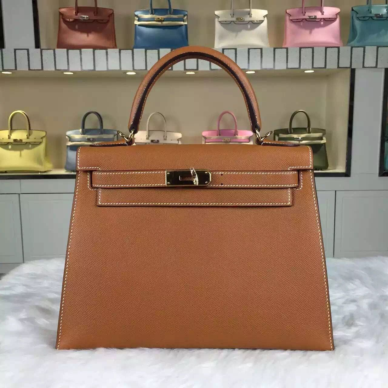 Brand  Hermes  Style  Kelly Bag28CM   Material  Epsom Calfskin Leather Color   CK37 Brown  Hardware  gold silver  Accessories  Padlock and keys 1430c2a8f3f55