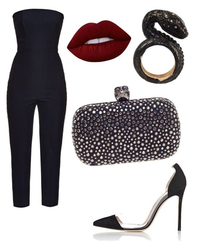 """Без названия #2567"" by pakalova ❤ liked on Polyvore featuring beauty, Alexander McQueen, Gianvito Rossi, Nisan and Lime Crime"