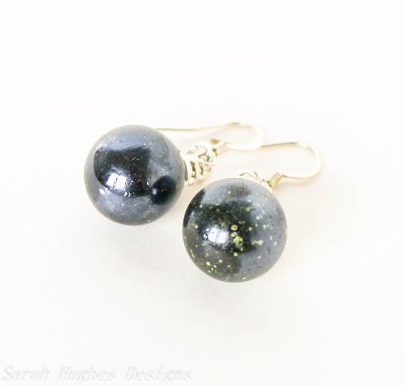 Metallic black glass marble dangle earrings by bunnyboutique, $20.00