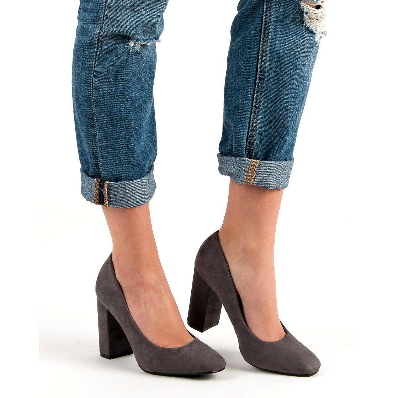 Czolenka Damskie Seastar Seastar Szare Zamszowe Czolenka Na Slupku Shoes Fashion Heeled Mules
