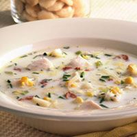 Tilapia Corn Chowder    I would leave out the bacon and swap out the heavy cream or at least part of it.    Calories 288, Total Fat 10 g, Saturated Fat 4 g, Monounsaturated Fat 3 g, Cholesterol 78 mg, Sodium 453 mg, Carbohydrate 21 g, Fiber 2 g, Protein 31 g, Potassium 598 mg