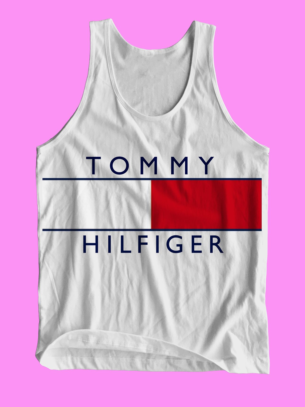 d1336ab270f1 tommy hilfiger logo Adult Tank Top Men and Women
