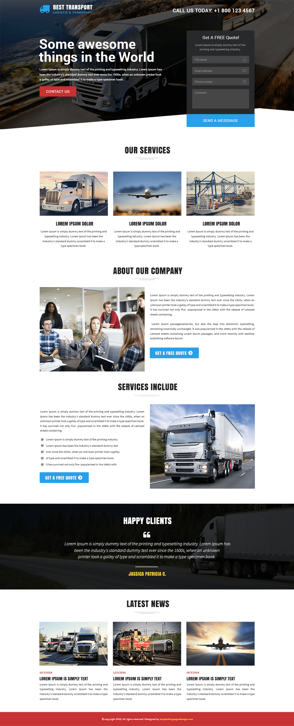 Transportation And Logistic Service Responsive Landing Page
