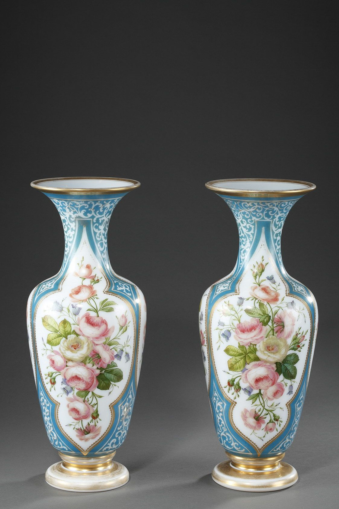 Decorated Mining Urn An Enamel Opaline Balustershaped Pair Of Vases Decorated With