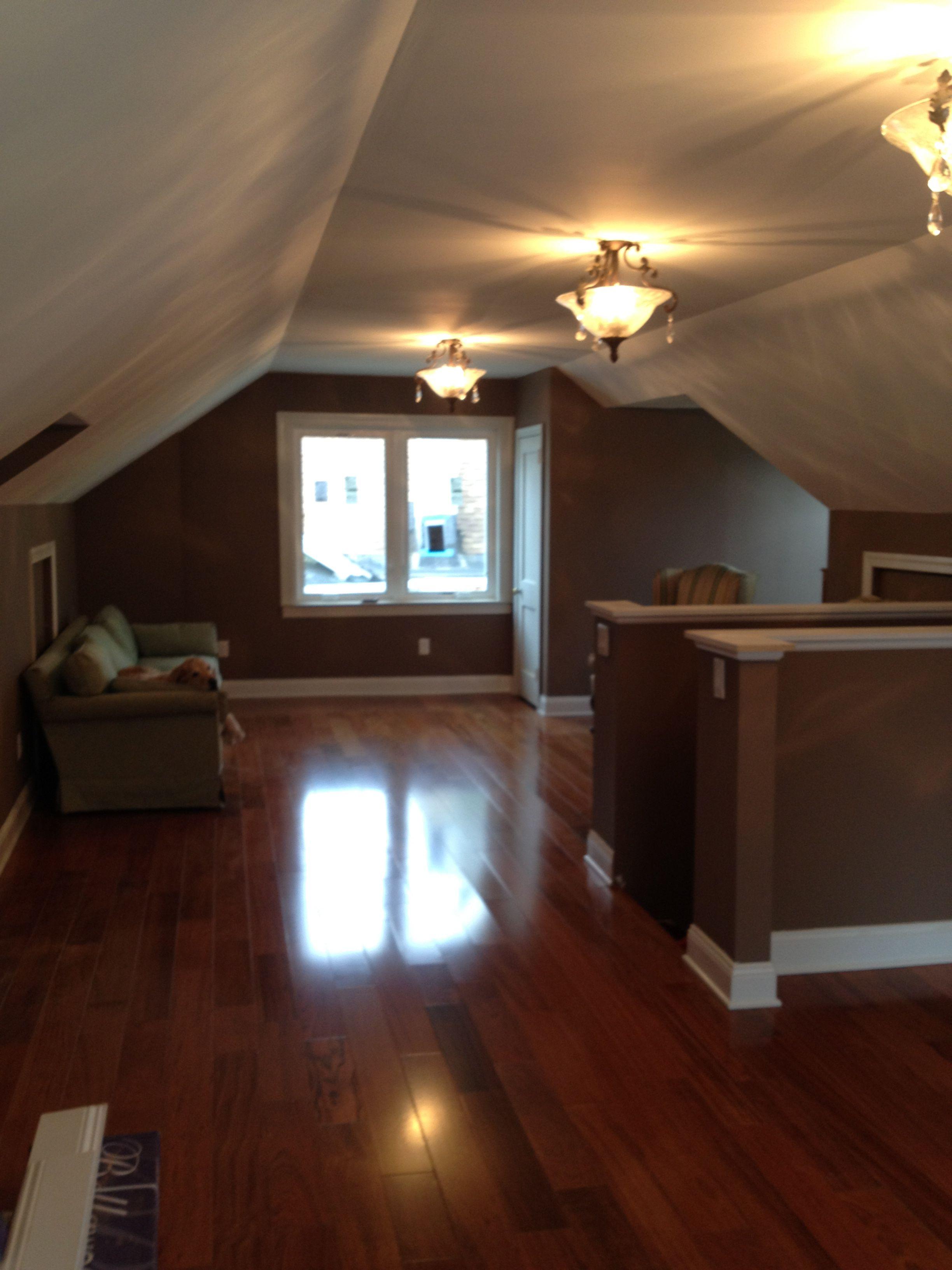 My Attic Master Bedroom Remodel Behr Blanket Brown Brazilian Cherry Hardwood
