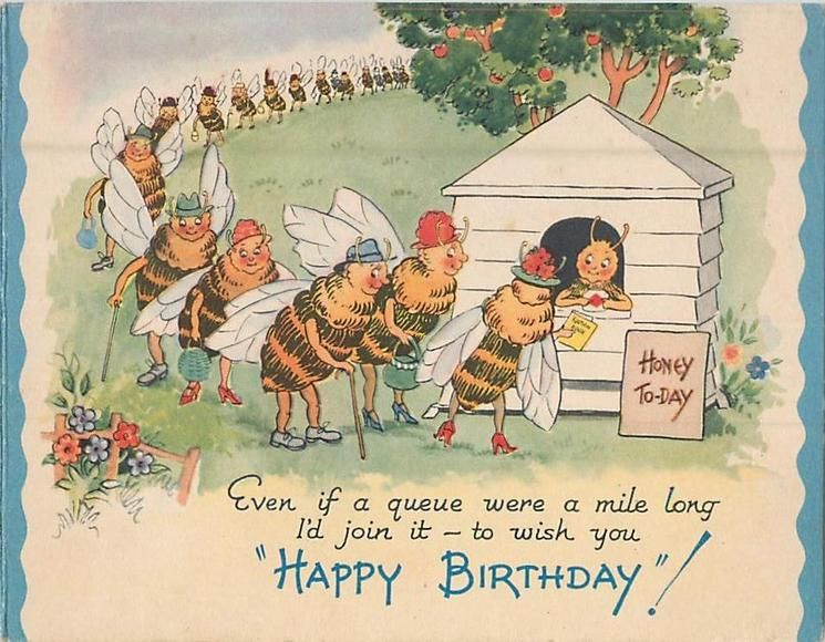 Happy Birthday Bees Stand In Long Line To Collect Honey