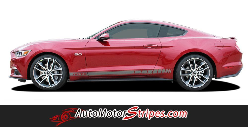 2015 2017 Ford Mustang Stallion Rocker 2 Factory Oem Style Lower Strobe Rocker Stripes Vinyl Graphics 3m Decals Ford Mustang Vinyl Graphics Mustang