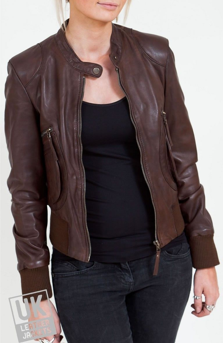 Women S Brown Leather Bomber Jacket Airabonita The Distinctive Styling Sets This Wom Brown Leather Bomber Jacket Womens Brown Leather Leather Bomber Jacket [ 1180 x 767 Pixel ]