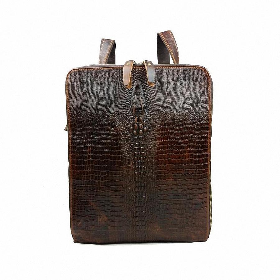 87.64$  Watch now - http://aliemq.worldwells.pw/go.php?t=32462030831 - Luxury Brand Designer Natural genuine leather men backpack Multifunctional Vintage crocodile pattern cowhide travel bags LI-675 87.64$