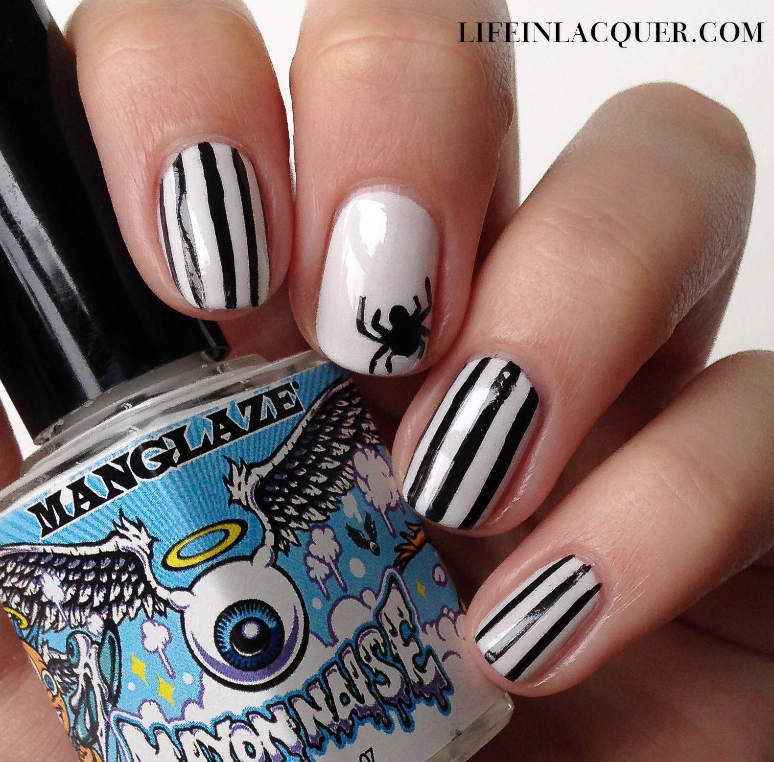 Easy Halloween spider nail art, reminds me of Beetlejuice! Using Manglaze  and acrylic paint - Easy Halloween Spider Nail Art, Reminds Me Of Beetlejuice! Using