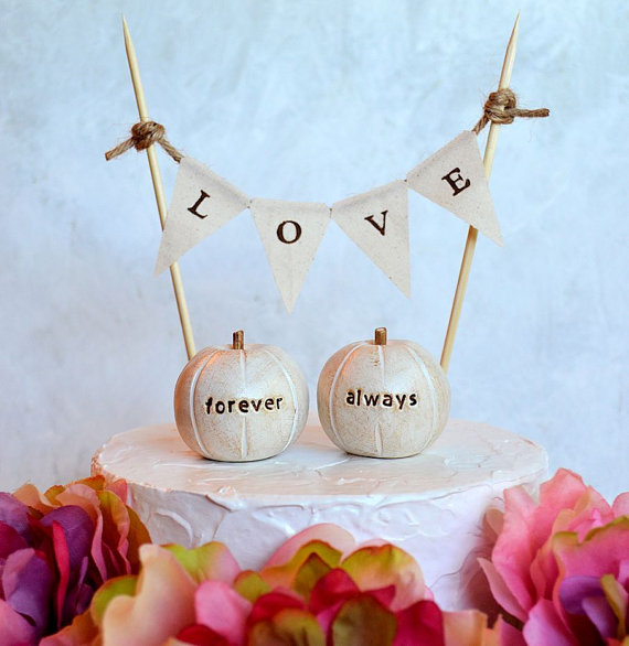 Wedding cake topper...always forever pumpkins and fabric LOVE banner included ... package deal on Etsy, $34.00