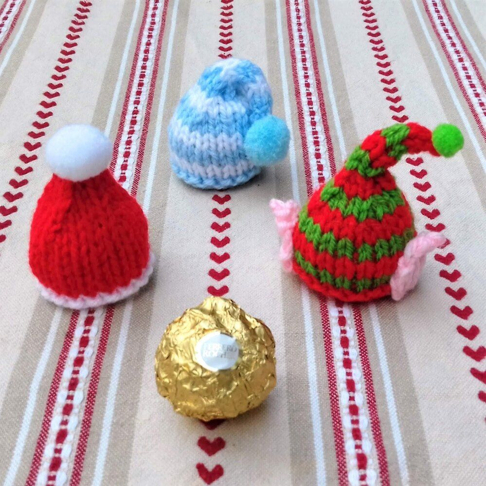 Christmas Hats - Ferrero Rocher Chocolate Covers Knitting pattern by Needles & Pins | Christmas ...