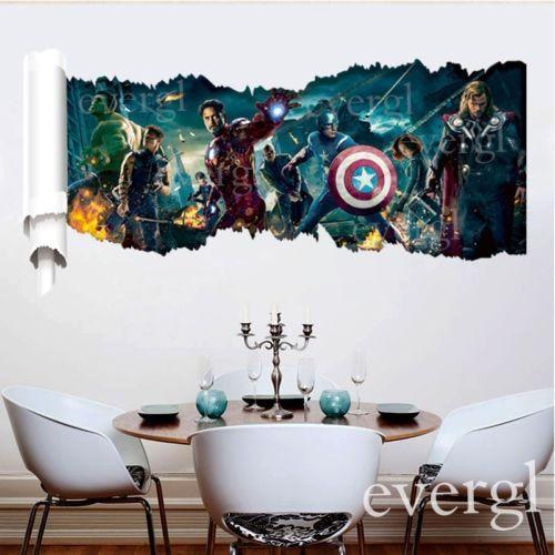 3d movie the avengers removable vinyl wall sticker guest bedroom rh pinterest com