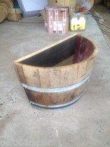 Genuine Solid Quarter Oak Barrel Planters Flat Back Ideal Up Against Wall Etc Ebay Barrel Planter Wine Barrel Planter Oak Barrel