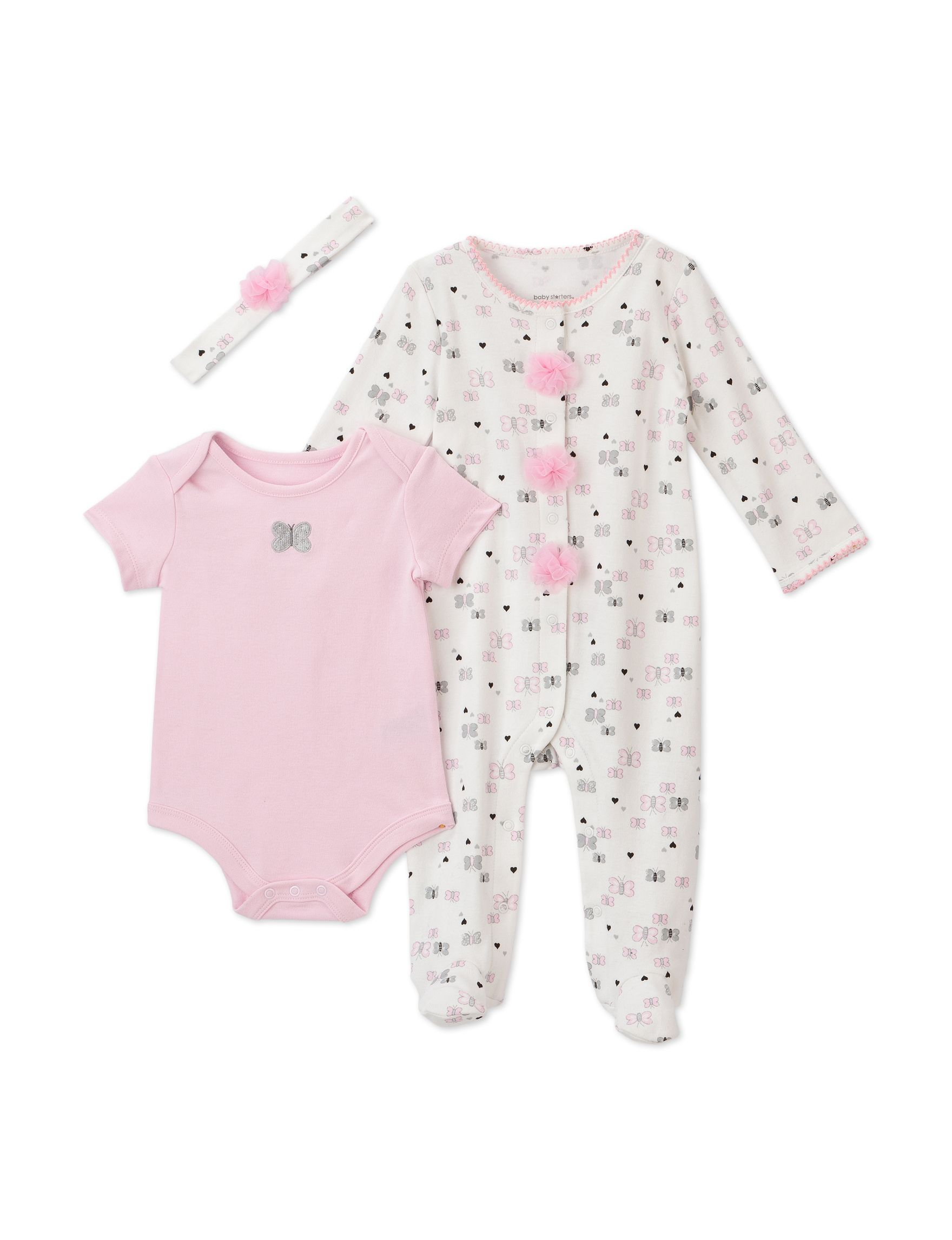 Baby Starters 3 pc Pink & Grey Butterfly Bodysuit Set – Baby 3 9