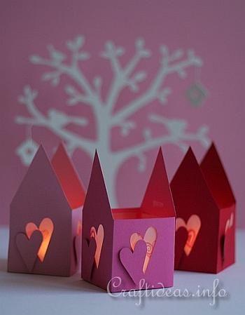 Valentine's Day Paper Tea Light House
