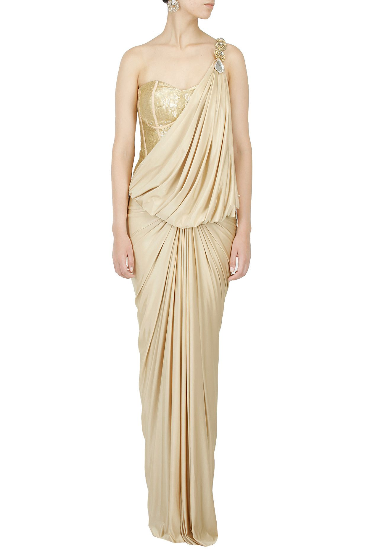Gold corset draped wing gown by raakesh agarvwal shop now at