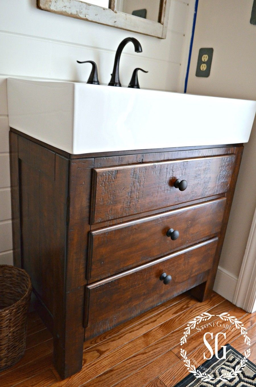 A PEEK AT OUR POWDER ROOM MAKEOVER. Farmhouse VanityRustic VanityPottery  Barn BathroomBasement BathroomVanity SinkBathroom ...