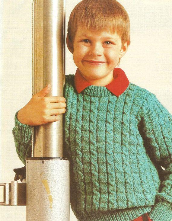 VINTAGE knitting pattern pdf boys textured by ...