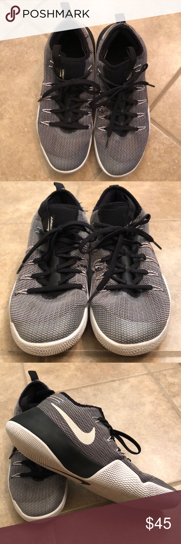 508ff40ae4b7 Nike Hypershift basketball shoes size 10 Nike Hypershift basketball shoes  black and white - size 10. Worn but in good condition. Nike Shoes Sneakers