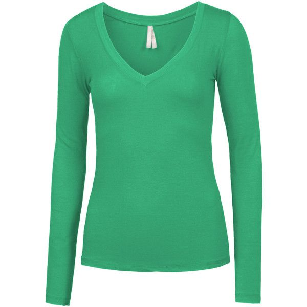 LE3NO Womens Lightweight Fitted Long Sleeve V Neck Cotton Shirt ($7.99) ❤ liked on Polyvore