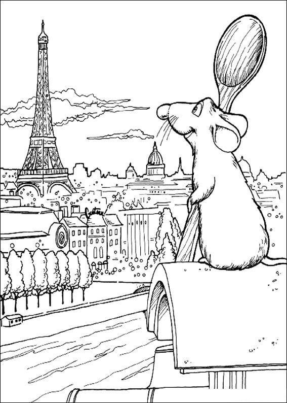 Parijs Kleurplaat Remy Kijkt Over Parijs Kleurplaat Kleurplaat Disney