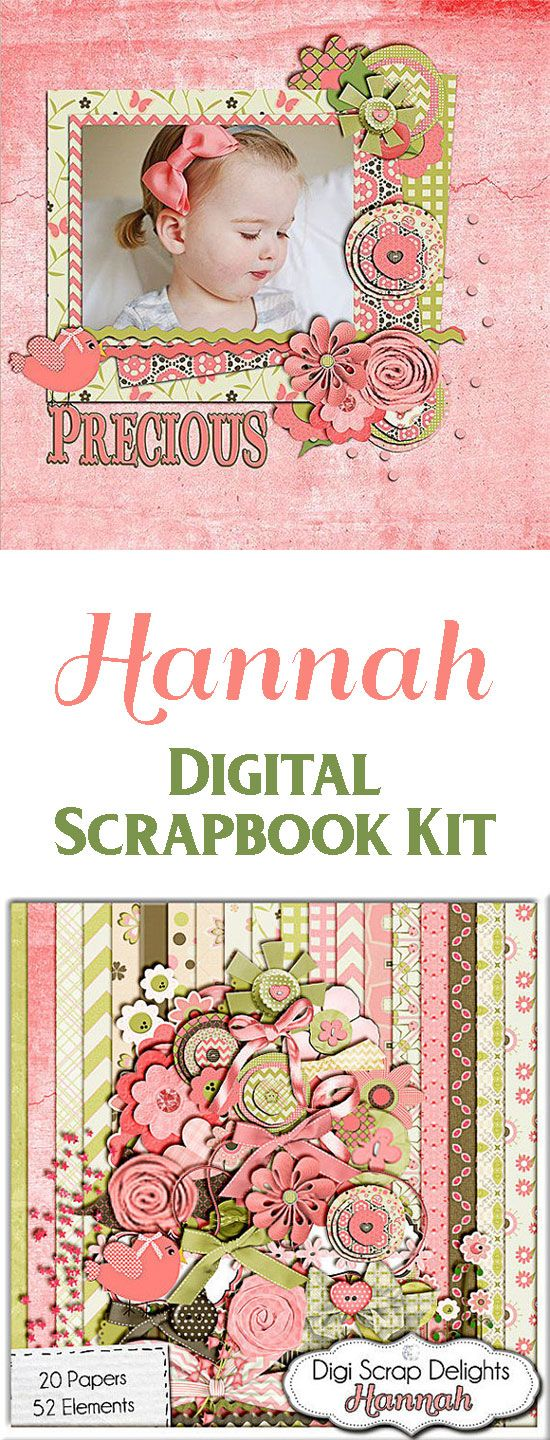 Hannah Digital Scrapbooking Kit in Coral Pink, Green, Brown. MEGA kit packed with 52 amazing embellishments including stacked fabric circles, bird, fabric flowers, ribbons, bows, string, buttons, rick rack, journaling mats, and much more,