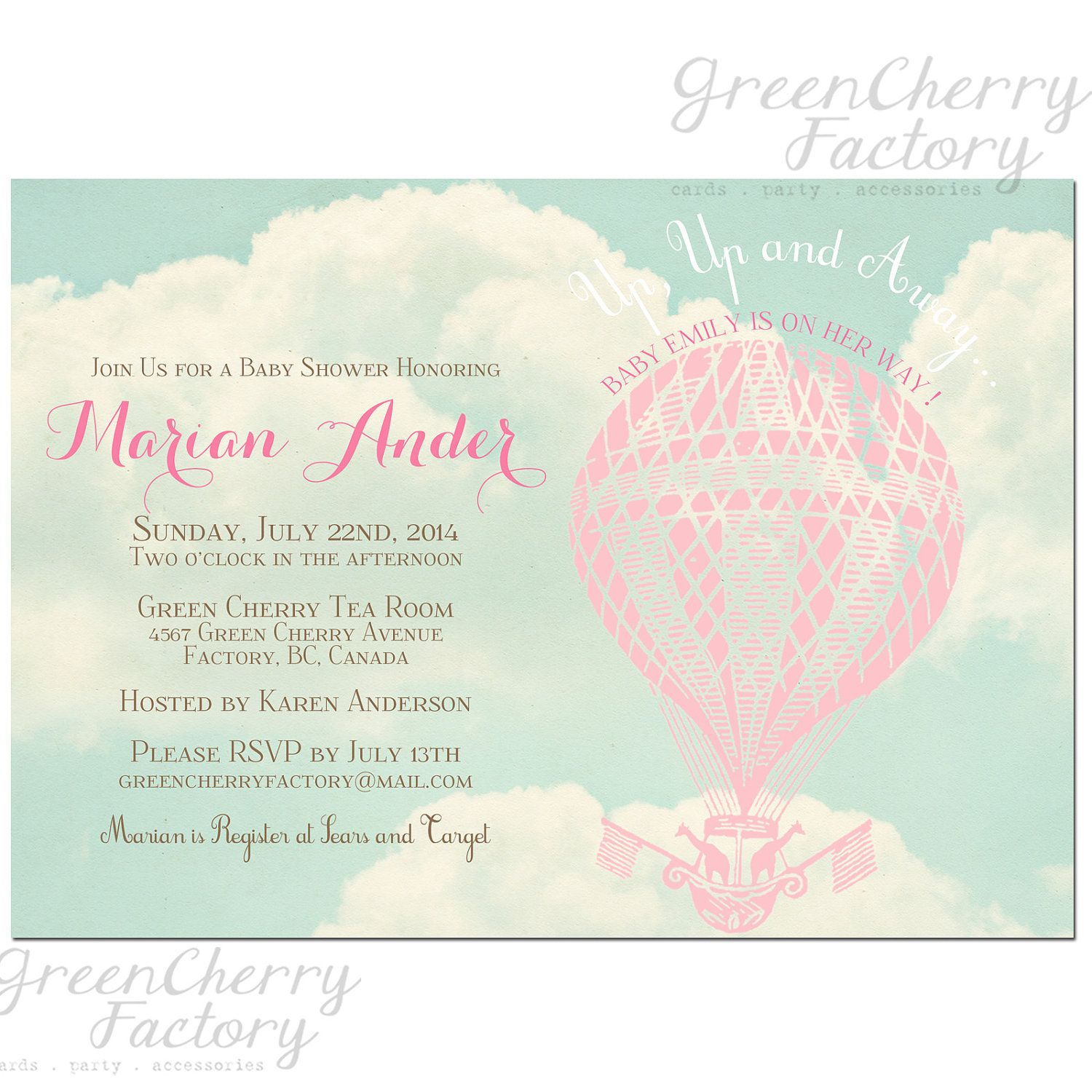 Up Up and Away Baby Shower Invitation - Birthday Hot Air Balloon ...