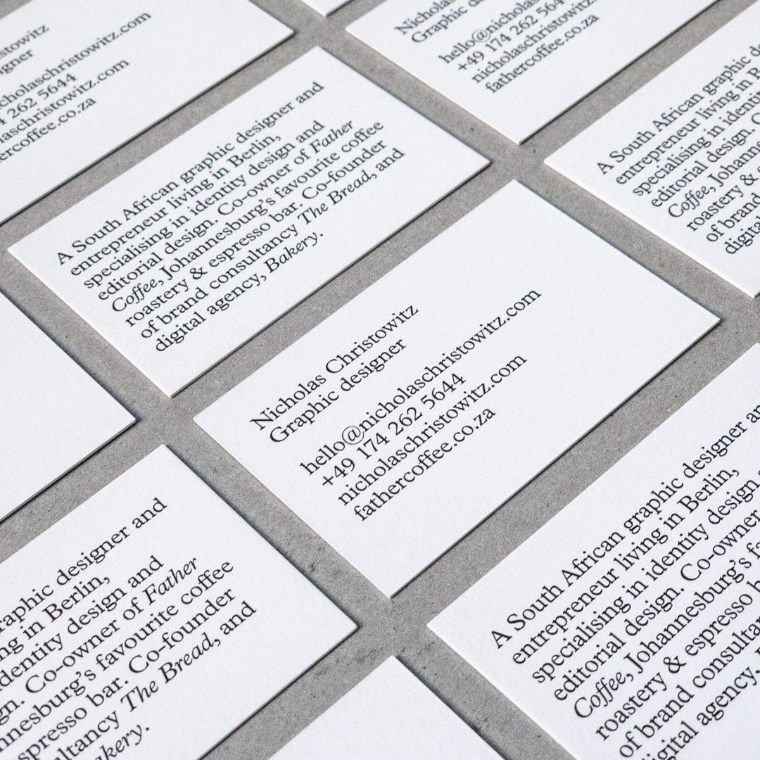 for these 3 designers fonts come first  business card