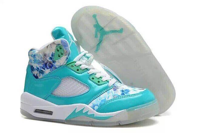 buy online 28e91 67e6e Female Nike Jordan Retro 5 GS Floral Jade Blue Green White Sports Trainers