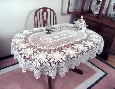 Oblong Tablecloth On Oval Table White Lace Tablecloths Ecru