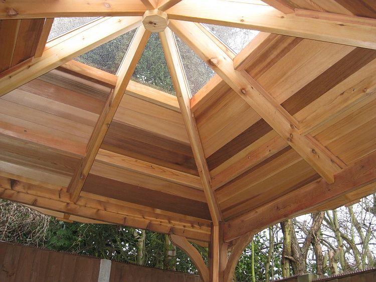 Standard Clear Atrium Roof On Cedar Hot Tub Gazebo Inside View