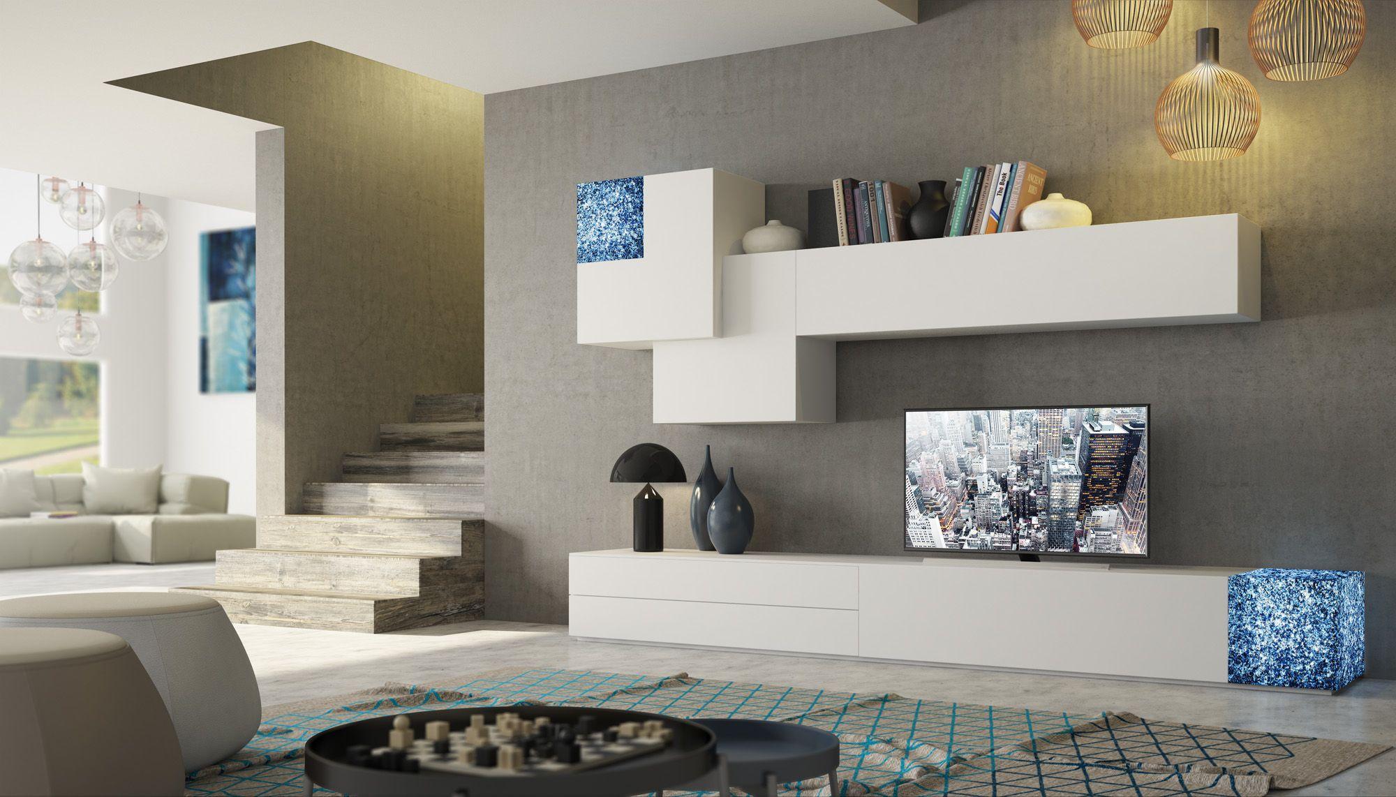 Wohnwand Mit Schreibtisch Als Arbeitsplatz Im Wohnzimmer King  # Muebles Evolution