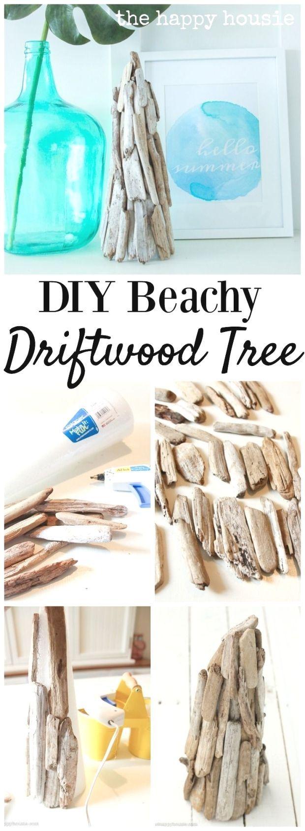 Diy Beachy Decor Driftwood Tree With Images Diy Beachy