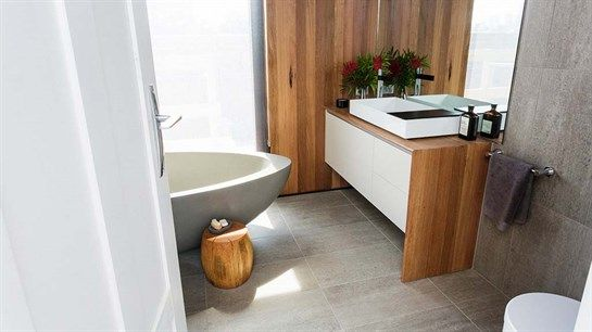 Whelan Delta - Port Melbourne. Main bathroom: ceiling (delta timber recycling- NC Hardwood), tiles (beaumont tiles - horm flint 307 x 615), vanity (art steven cavinetry)