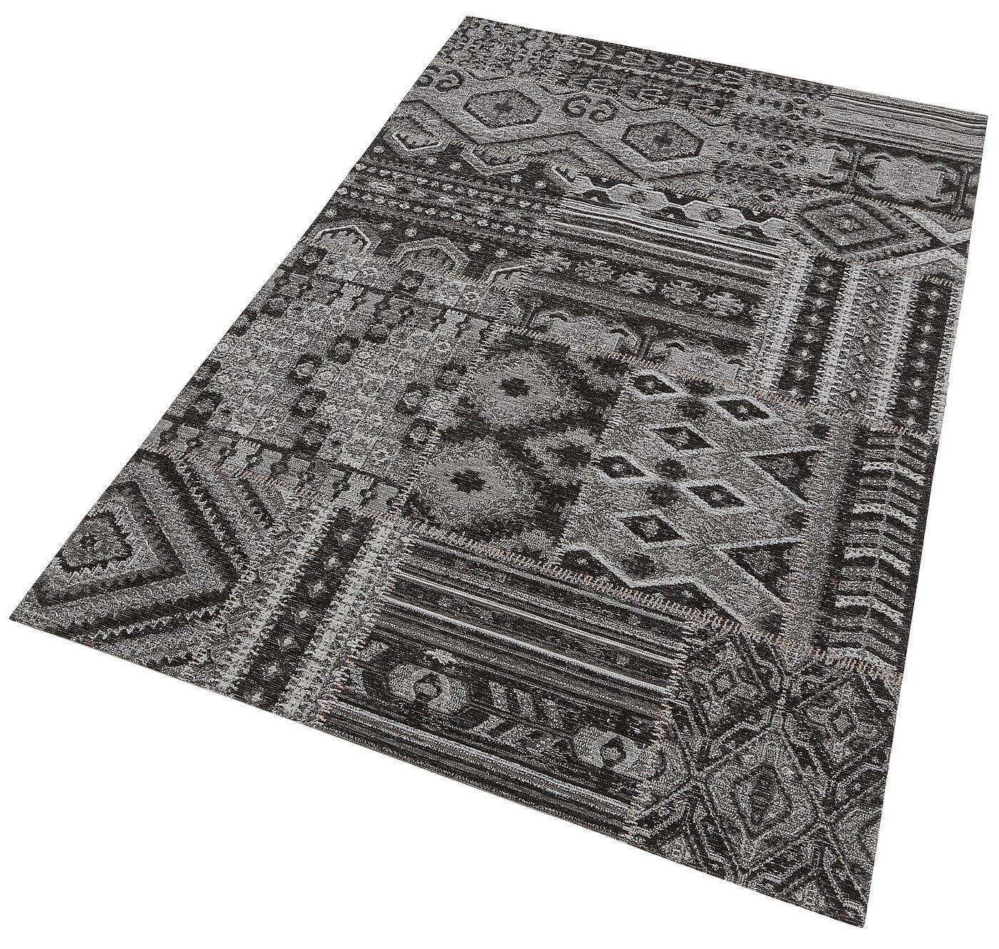 Details:  Grafisch gemustert,  Qualität:  Maschinengewebt, 1,2 kg/m² Gesamtgewicht, 2 mm Gesamthöhe,  Flormaterial:  100 % Polyester Chenille,  ...