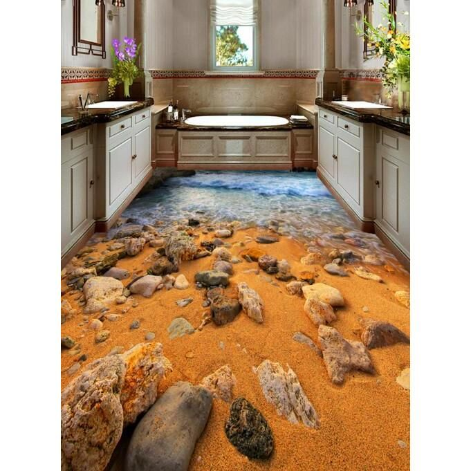 3D Beach Stones Floor Mural