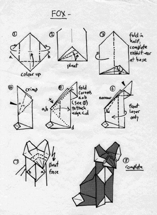 Origami Fox Folding Instructions Origami Instruction Paper Craft