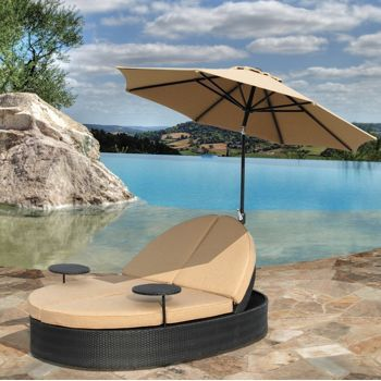 Costco Solana Double Chaise Patio Lounge With Umbrella Double Chaise Lounge Outdoor Double Chaise Lounge Lounge Chair Outdoor