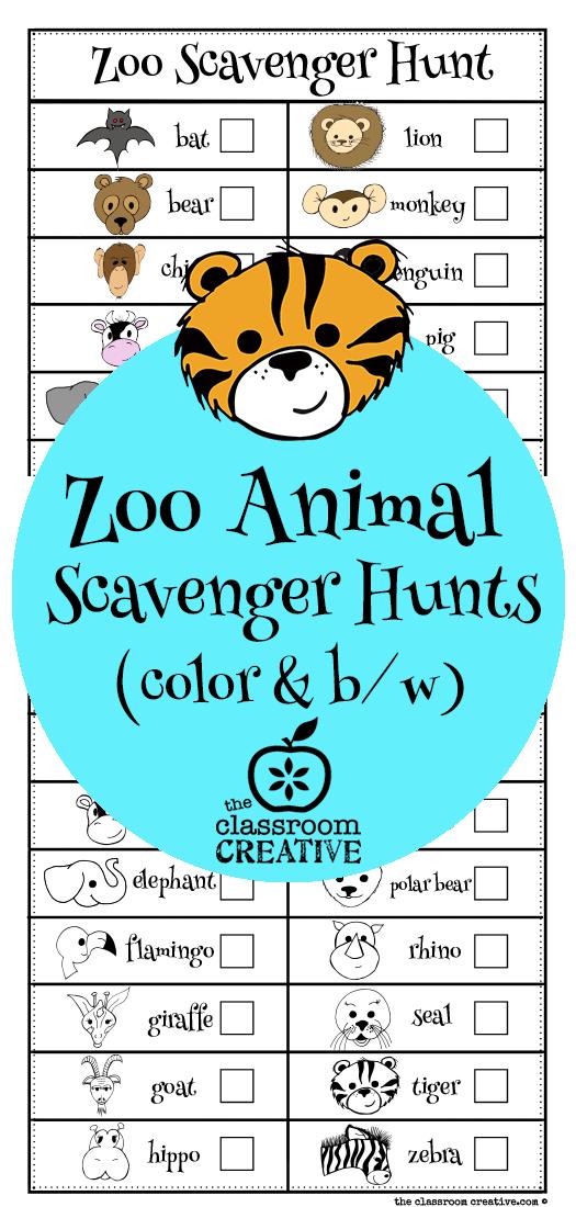 zoo animal scavenger hunts from theclassroomcreative.com