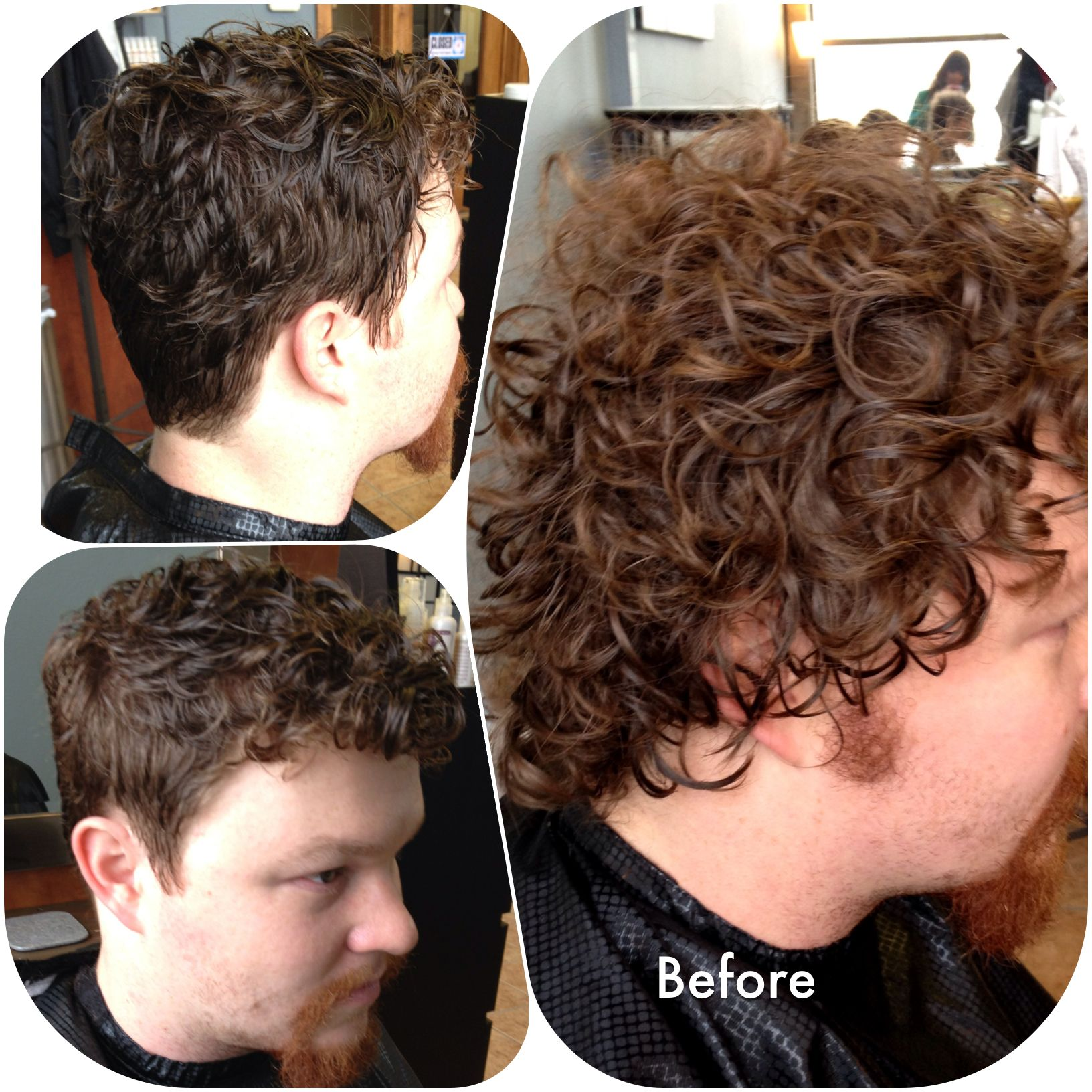 Before after mens curly hair scissor over comb technique
