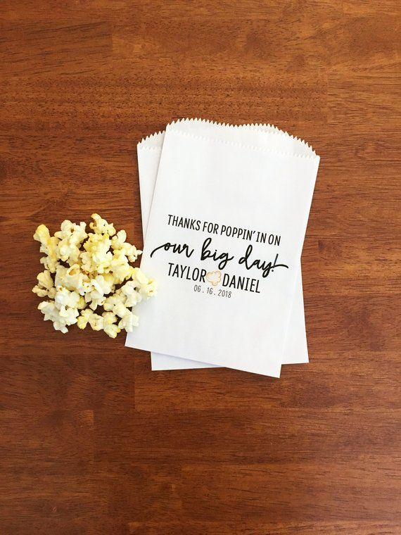 Wedding Popcorn Bags Lined Favor Personalized Bar Th